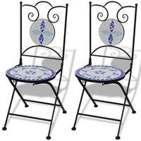 mozaikowe krzesło bistro niebieskie / biały zestaw 2 szt marki Vidaxl