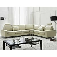Stylowa sofa kanapa z beżowej skóry naturalnej narożnik STOCKHOLM (7081455212647)