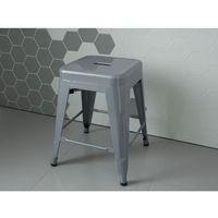 Hoker srebrny - taboret - do jadalni - stołek - 38x38x46 cm - cabrillo marki Beliani