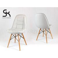 Sk design  ks009 jasnoszare krzesło z ekoskóry na drewnianych nogach - jasnoszary