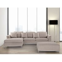 Sofa beżowa - sofa narożna P - tapicerowana – sofa z pufą - OSLO