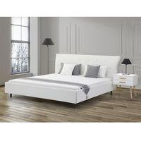 Beliani Łóżko białe - 160x200 - łóżko skórzane ze stelażem - saverne