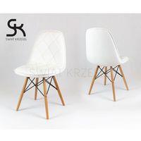 ks007 białe krzesło z ekoskóry na drewnianych nogach - biały marki Sk design
