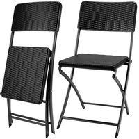 Wideshop 6 x krzesło ogrodowe składane czarne biwak camping