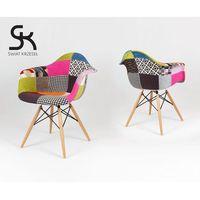 kr012f tapicerowany fotel patchwork - kolorowy \ drewno buk marki Sk design