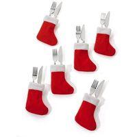 Skarpetki świąteczne - etui na sztućce (6 szt.)  czerwono-biały marki Bonprix