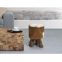 Beliani Hoker brązowy - stołek - drewno tekowe - kent (7081459095208)