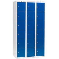 Szafki osobiste 3 sekcje po 6 skrytek w pionie Kolor drzwi: Niebieski, 323812