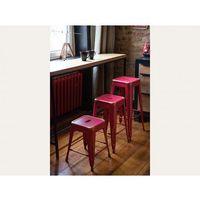Beliani Hoker czerwono-złoty - taboret - do jadalni - 38x38x46 cm - cabrillo (7081455084459)