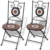 Vidaxl  mozaikowe krzesło bistro terracotta - biały zestaw 2 szt