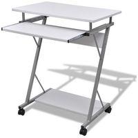 Vidaxl  biurko komputerowe z ruchomą podstawką na klawiaturę (białe) (8718475854272)