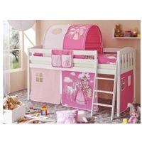 Ticaa kindermöbel Ticaa łóżko z drabinką eric v sosna biały, konik (pink)