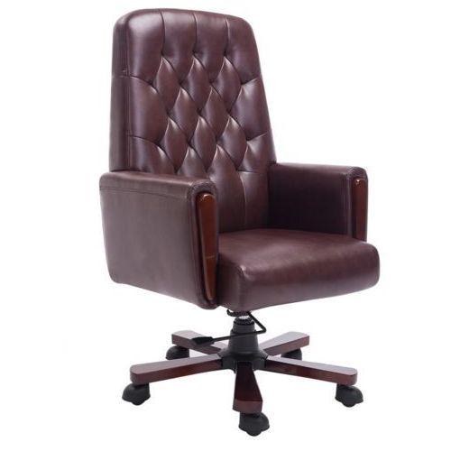 vidaXL Fotel biurowy Chesterfield z Brązowej Eko Skóry