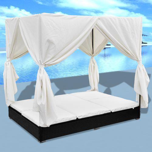 vidaXL Rattanowe łóżko dwuosobowe z baldachimem - sprawdź w VidaXL
