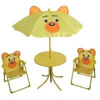 dziecięcy zestaw kempingowy bear - parasol, stolik, 2 krzesełka marki Happy green