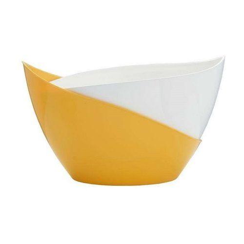 Samonawadniająca doniczka Plastia Doppio 14 x 20 cm, biały + żółty