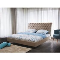 Łóżko beżowe - 160x200 cm - łóżko tapicerowane - stelaż - REIMS, kolor beżowy