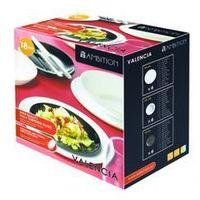 Komplet obiadowy Valencia biało czarny 18 elem. (śr. 260) (5904134193919)