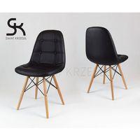 ks008 czarne krzesło z ekoskóry na drewnianych nogach - czarny marki Sk design