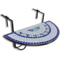 Vidaxl  półokrągły stolik balkonowy, biało-niebieska mozaika (8718475874492)