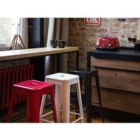 Hoker biały - taboret - do jadalni - stołek - 42x42x76 cm - cabrillo marki Beliani