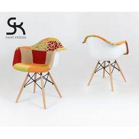 Sk design  kr012f tapicerowany fotel patchwork 4 - patchwork 4 \ drewno buk