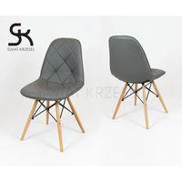 Sk design  ks007 ciemnoszare krzesło z ekoskóry na drewnianych nogach - ciemnoszary