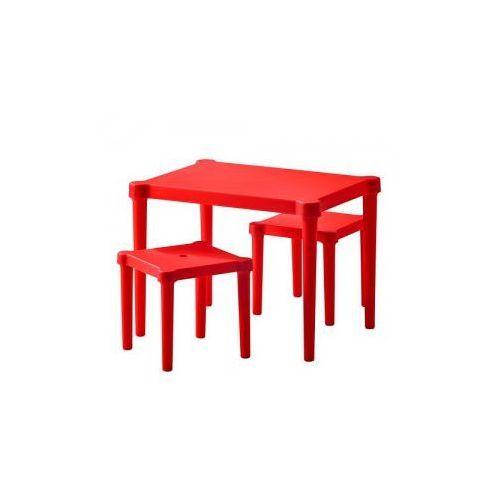 UTTER Stolik i 2 stołki, czerwony do wewnątrz/na zewnątrz czerwony - produkt dostępny w Domfan.pl - rabaty do 10%