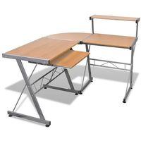Vidaxl  biurko komputerowe duże z ruchomą półką na klawiaturę (brązowe) (8718475854326)