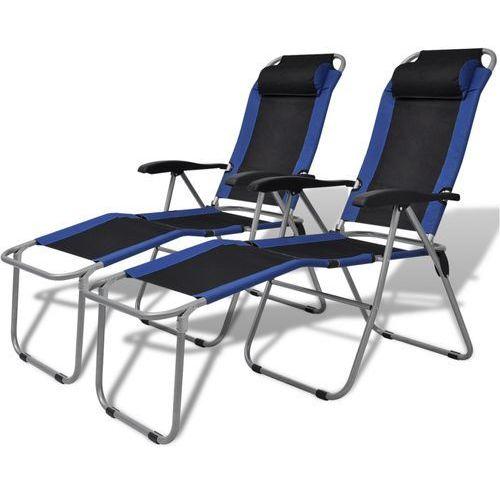 krzesła kempingowe wypoczynkowe 2 szt niebiesko-czarne od producenta Vidaxl
