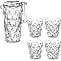 Dzbanek crystal + 4 szklanki - kolor przeźroczysty,  marki Koziol