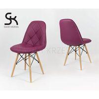 Sk design  ks007 purpurowe krzesło z ekoskóry na drewnianych nogach - purpurowy