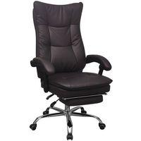vidaXL Regulowane krzesło biurowe z podnóżkiem brązowe
