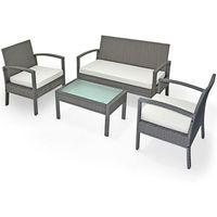 Wideshop Meble ogrodowe poli rattan stół + sofa + 2 krzesła