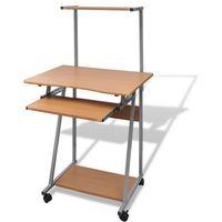 Vidaxl  biurko komputerowe z ruchomą półką na klawiaturę (brązowe)
